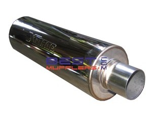 Xforce Universal Stainless Steel Round Sports Muffler 63mm Inlet x 350mm  long [5